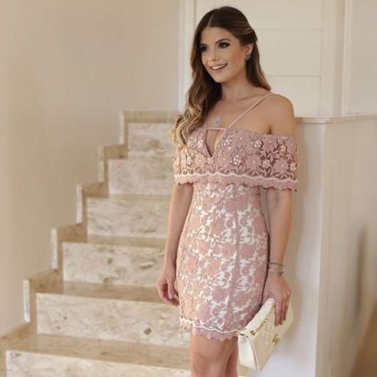vestido de formatura rosa claro curto de ombro a ombro com renda in 2019 | Dresses, Fashion dresses, Prom dresses with pockets