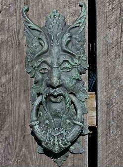 Large Green Man Cast Iron Door Knocker & Gate Keeper