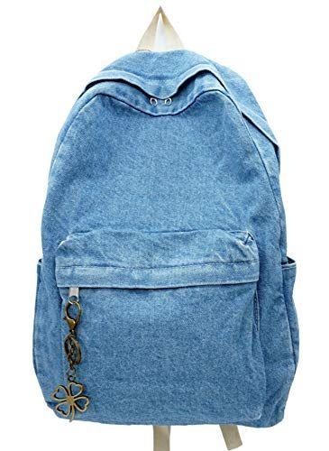 Enjoy exclusive for Yunzh Classic Retro Denim Bookbags School Bag College  Jeans Backpack Casual Backpacks (Lightblue) online  3d0c0161d6420