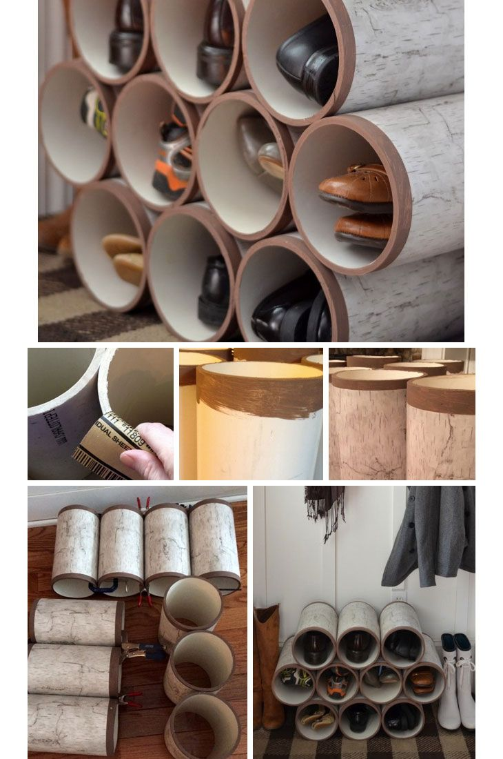 Upcycled PVC Pipes - DIY Shoe Organizer Ideas - Click for Tutorial - DIY Organization Ideas for the Home