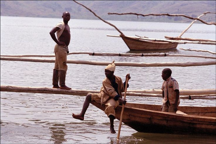 Africa. Rwanda. Lake Kivu. Although Lake Kivu is a dead lake, fisherman still trawl for tiny fish 5cm long.