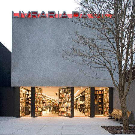 The front of this São Paulo bookshop is made up of revolving bookcases.