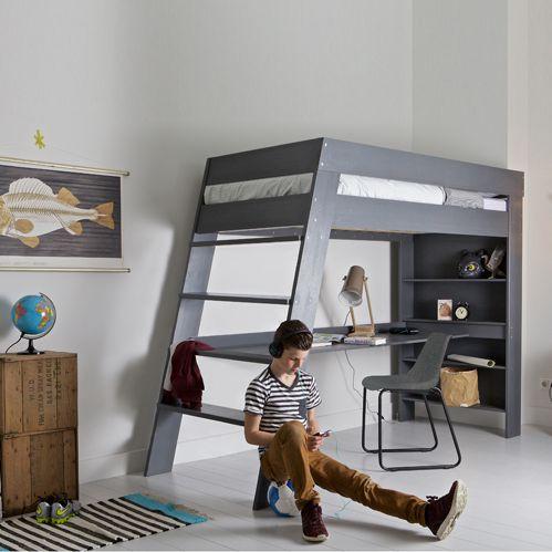 lit-mezzanine-gris - Le blog deco de MLC | Chambre d\'ado garçon ...