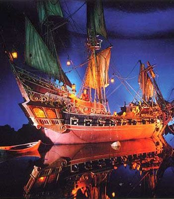 Pirate ship inside the Pirates of the Carribean ride.