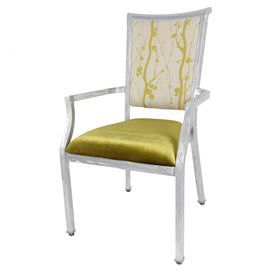 """Add a pop of color to your dining room or home office with this aluminum arm chair, showcasing gold and yellow upholstery.  Product: ChairConstruction Material: Aluminum and polyester-cottonColor: Gold, yellow and whiteDimensions: 39"""" H x 22"""" W x 21"""" D, 21 lbs"""