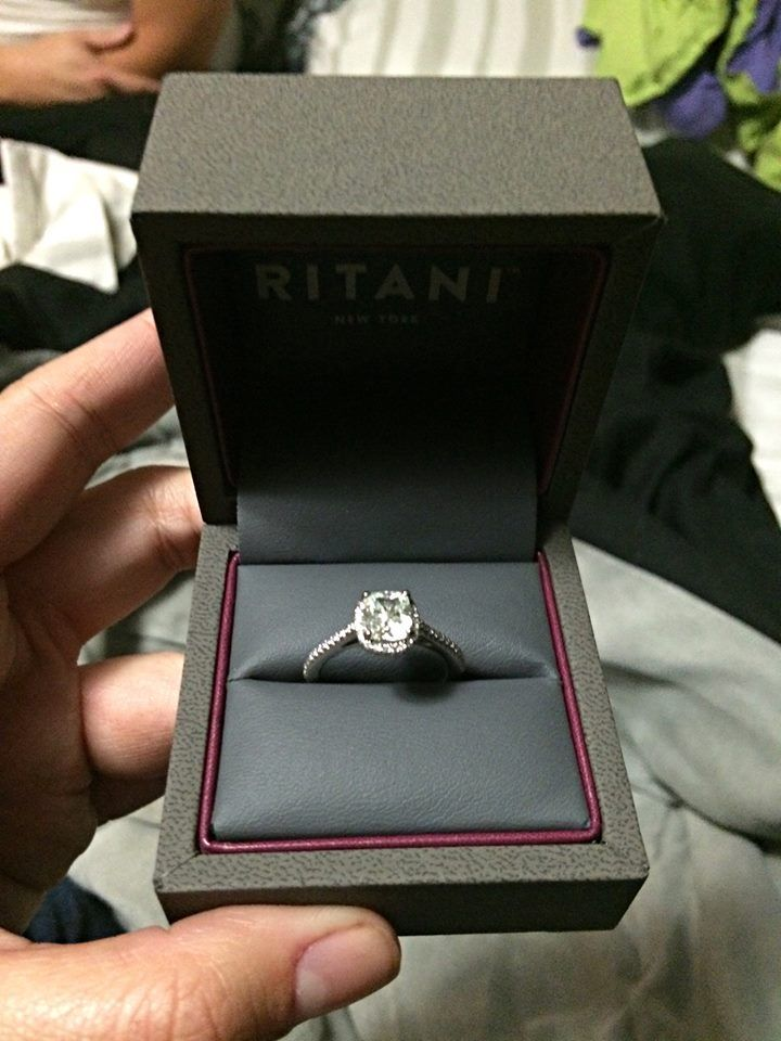 see real ritani engagement rings in this customer series learn how nick proposed to kara with a stunning cushion halo engagement ring from ritani - Ritani Wedding Rings