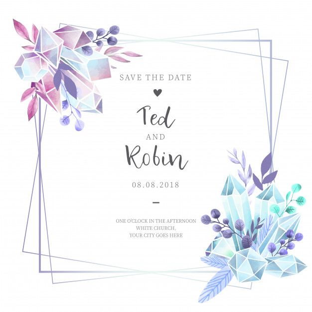 Download Watercolor Wedding Invitation With Diamonds For Free In