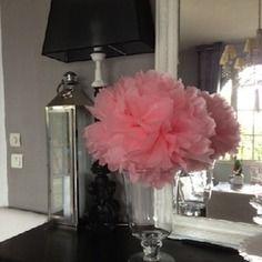 Pompon,fleur papier, tulle,mariage diam 46cm
