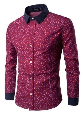 Camisa Moderna de Estilo Inglés Juvenil - Bubbles - en Rojo y Azul