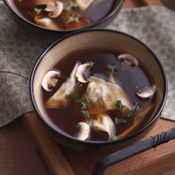 The broth for this rich Mushroom Ravioli Soup is steeped with dried porcini's and shallots, with dumplings filled with mushrooms, ricotta and Parmesan.