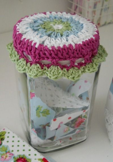 Crochet Patterns Jar Lids : Jars, Crochet jar covers and Patterns on Pinterest