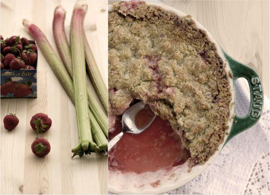 Crumble de ruibarbo y fresas «