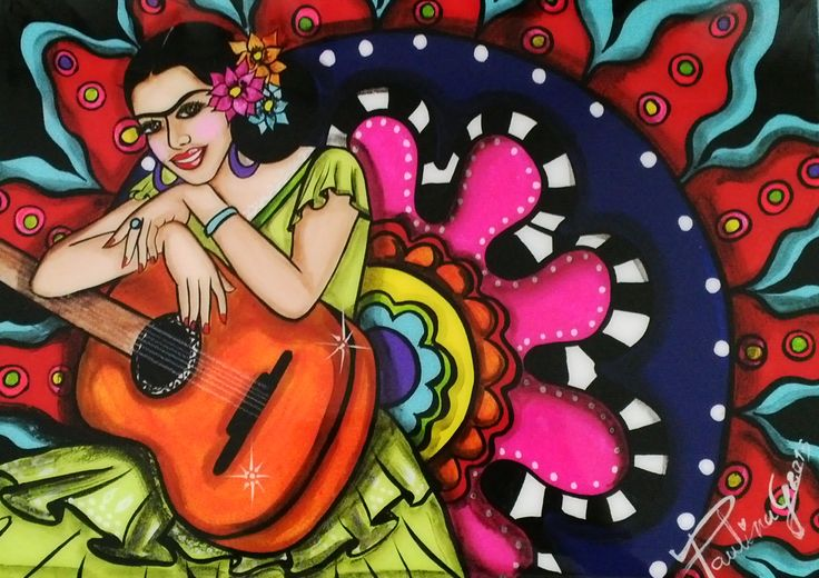 Frida with guitar