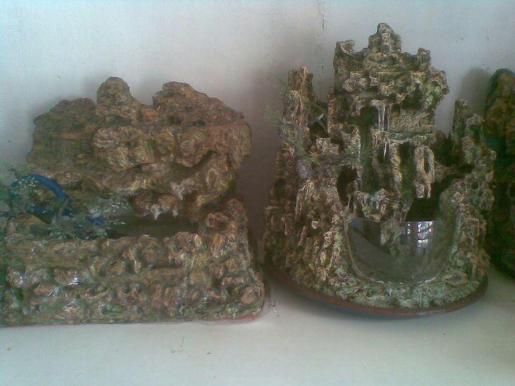 DIY- mini waterfall aqurium from styrofoam +cement.