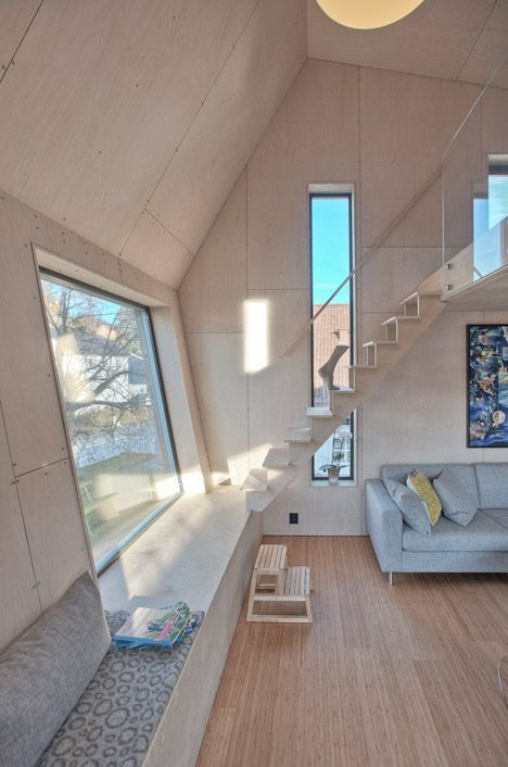 Interior shot of a lopsided house extension