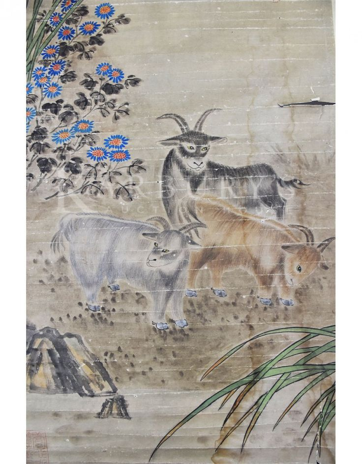 Liu Kuiling (1885-1968) Three Goats under the Sun  Hanging scroll, ink and color on paper, signed Liu Kuiling, titled and inscribed, with three seal of the artist, and one collector's seal.  Size: 64 by 21 in., 162 by 53 cm  刘奎龄(1885─1967)三羊图 设色纸本 立轴  款识:三阳开泰 丙辰春月耀辰刘奎龄  钤印:奎龄(阴文)蝶隐(阴文)右上:种墨草庐主人(朱文)  刘奎龄(1885—1967)…