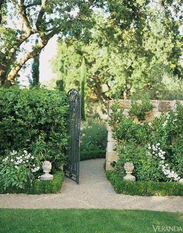 French Gardens and Homes - French Houses - Veranda, boxwoods, stone statuary, green & white garden