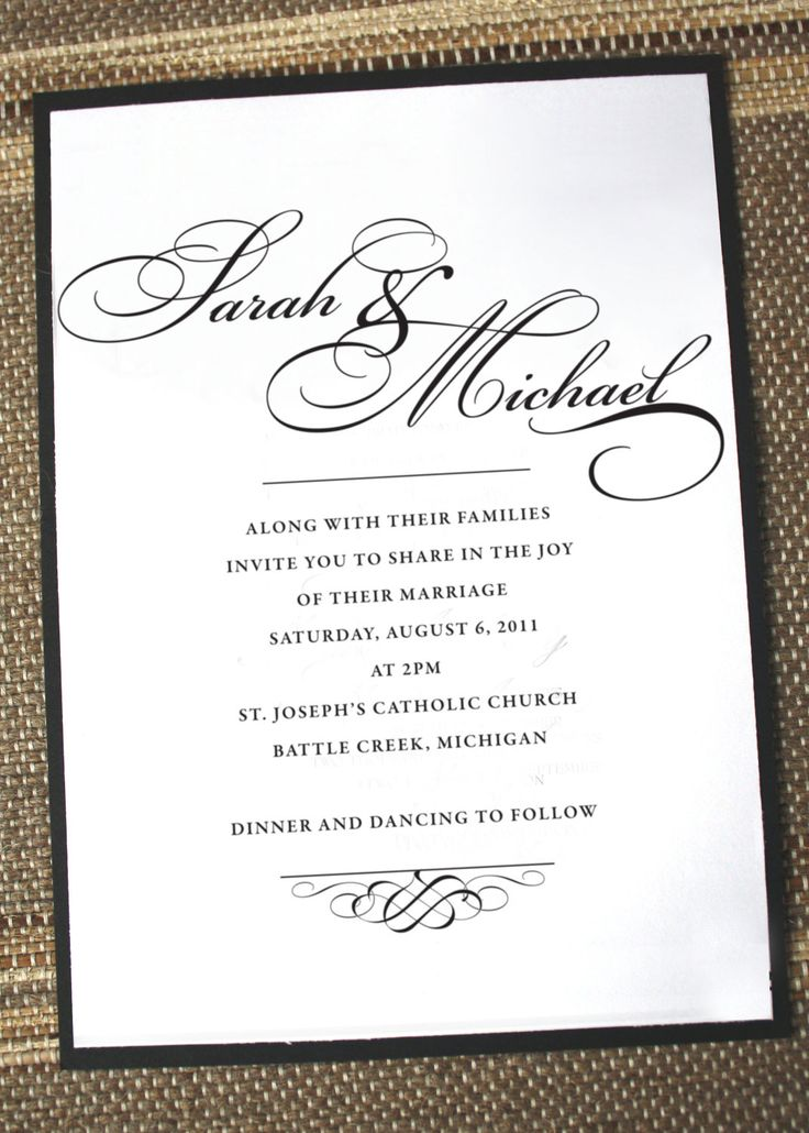 simply elegant wedding invitation anna malie design on etsy - Wedding Invite Examples