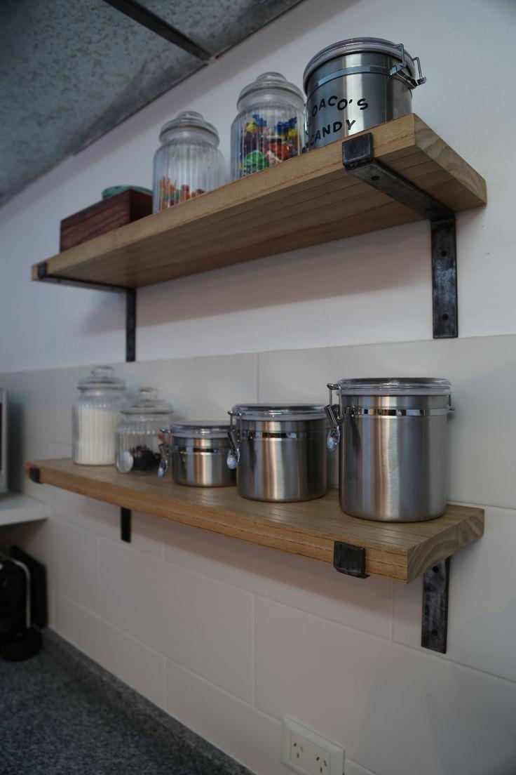 Estantes : : madera & hierro : :  Madera Paraíso y hierro natural pulido  Diseños y muebles a medida.