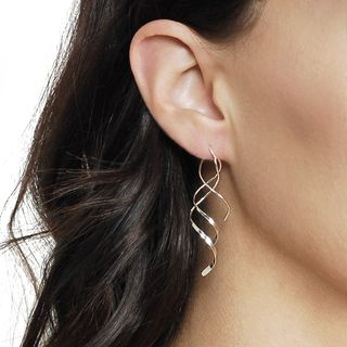 Tressa Sterling Silver Spiral Dangle Earrings | Overstock™ Shopping - Top Rated Tressa Collection Sterling Silver Earrings