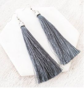 The Simplice Tassel Earrings in Graphite - Available now at www.tealandtala.com.au