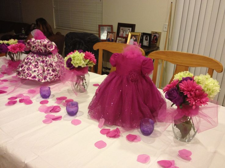 Baby girl shower centerpieces pinks and purples for Baby shower centerpiece decoration