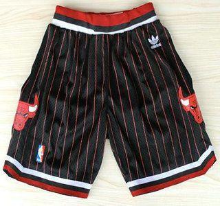 NBA Chicago Bulls Short Black Red Strip Swingman Short