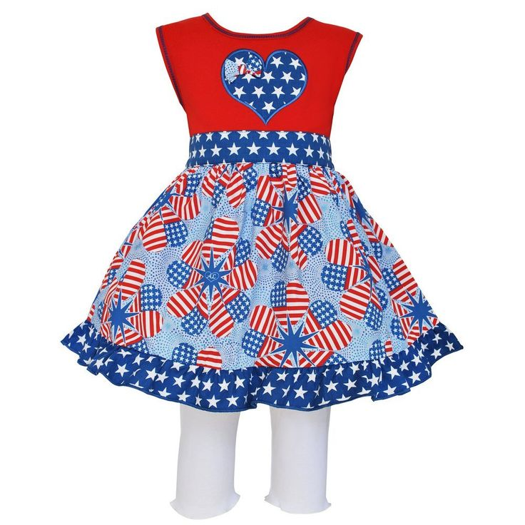 Annloren Little Girls Red Patriotic Heart Flags Dress Capri Boutique Outfit 2-3T. AnnLoren boutique heart flags dress and capri outfit for dressing up in a patriotic spirit!. Stylish Blue and White star heart applique, and a full woven patriotic flag skirt with a star ruffle trim. White knit leggings boast an elastic waistband for a perfect fit. 100 % Cotton, Machine Washable. Sizing is based on U.S. clothing size standards.