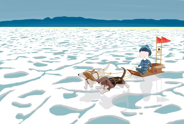 A boy, a box and two basset hounds - Water by DRIEHOEK, Illustrated by Megan Bird