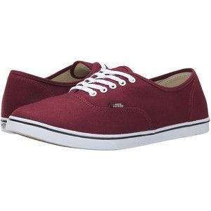 Vans Authentic Lo Pro White/Navy) Skate Shoes, Burgundy