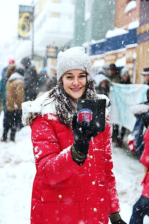 Shailene Woodley, photographed by Max Spooner, protesting Dacota Access Pipeline at Sundance on January 23, 2017