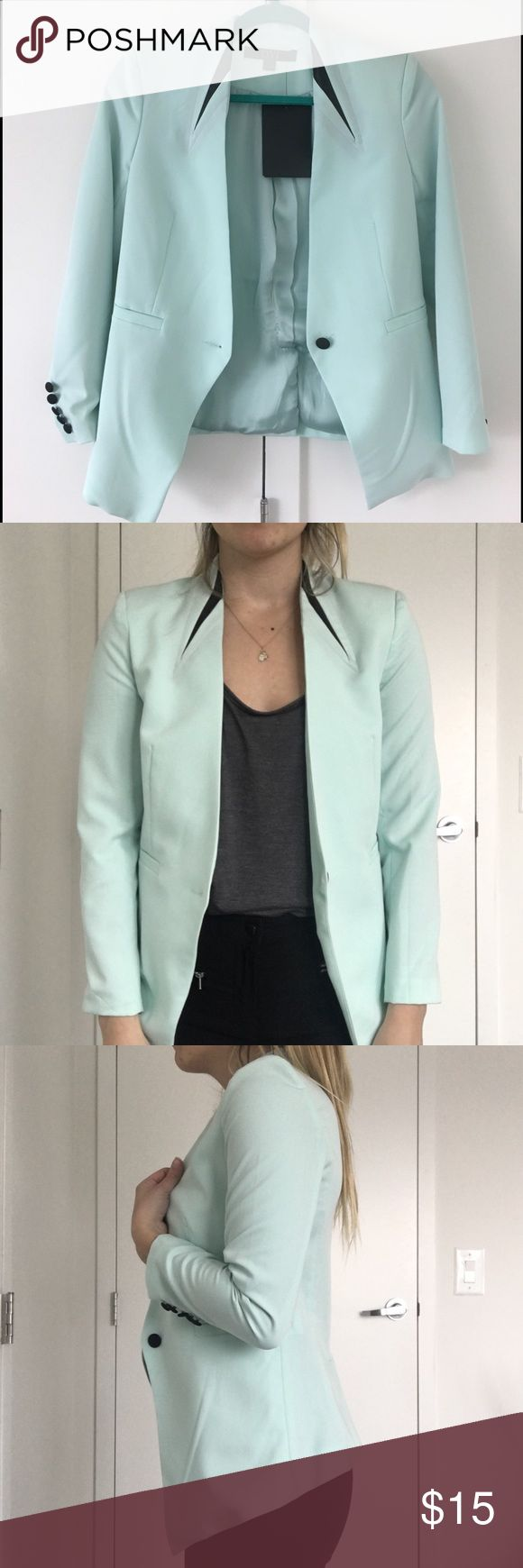 Ovi mint green blazer Brand new mint green blazer. Never worn size small. Fits beautiful and is very light. Necessary Clothing Jackets & Coats Blazers