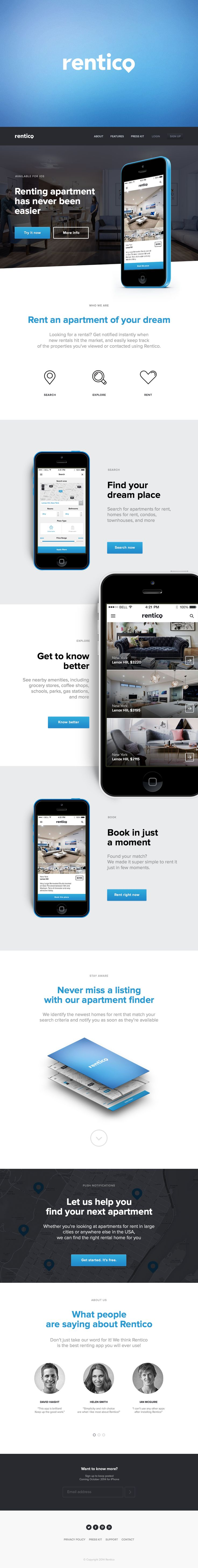 Concept of Rentico — iOS Application for renting.Naming, Branding, Logotype, UI.