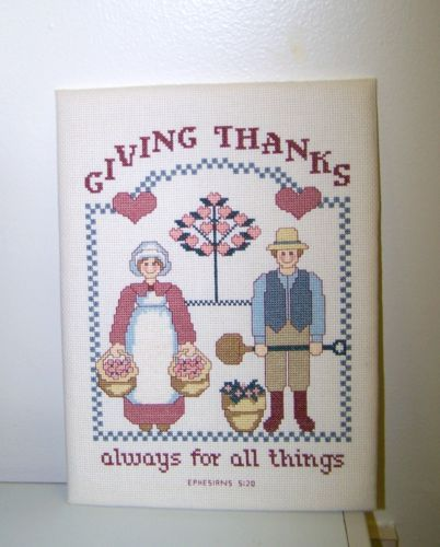 """Finished Cross Stitch Bible Verse Giving Thanks Always For All Things 9"""" x 12"""""""