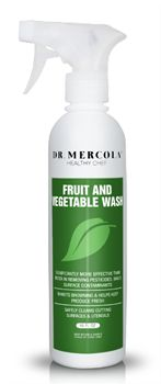 Dr. Mercola's natural fruit wash/vegetable wash is an odorless and tasteless organic produce wash which safely removes dirt, pesticide residue, and wax. http://products.mercola.com/fruit-and-vegetable-wash/