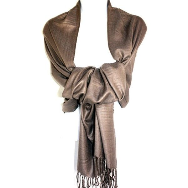Silver Fever Nepal Solid Two Ply Warm Soft Pashmina Scarf Shawl Wrap ($9.99) ❤ liked on Polyvore featuring accessories, scarves, silver wrap shawl, brown scarves, silver scarves, silver shawl and brown shawl