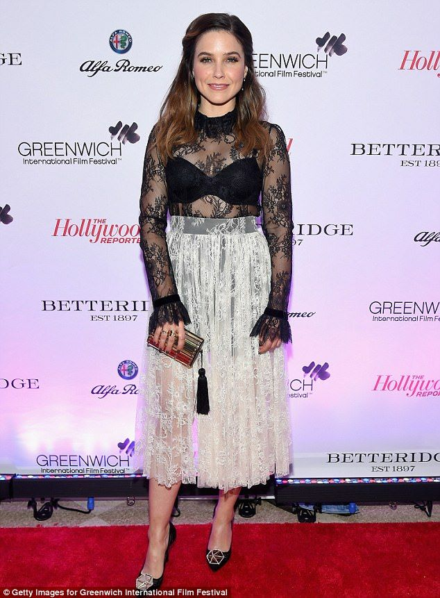 Sophia Bush flashes her cleavage in flirty lace dress at festival gala #dailymail