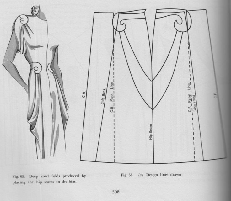 Pattern drafting for a draped dress ~ this is decidedly vintage....... I do like the shoulder drape info