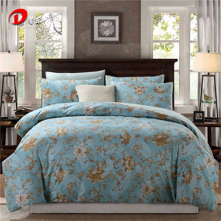Cheap linen men, Buy Quality linen directly from China linen cushion Suppliers: Luxury Satin Bed Linen Egyptian Cotton Bedding Set King Queen Size High Quality Brown Floral Bed Set Blue Duvet Cover Set Z27
