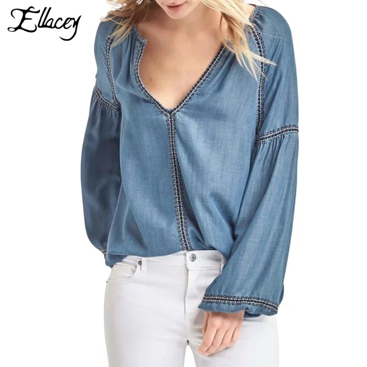 New 2017 Spring Folral Embroidery Denim Blouse Women Sexy V-neck Lantern Sleeve Shirts Denim Jeans Tops Vintage Blusa Feminina