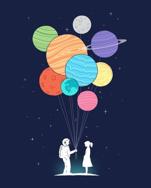 A spaceman holding a bouquet of planets by a moon.