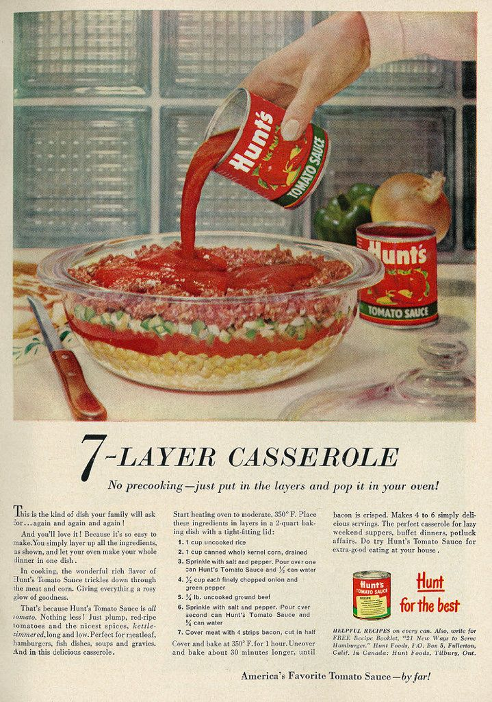 1958 Food Ad Hunt S Tomato Sauce 7 Layer Casserole With Ground Beef Recipe Vintage Recipes