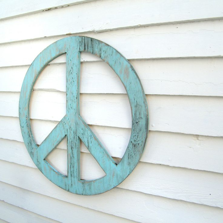 """Big Peace Sign  24"""" Peace Symbol Large Rustic Shabby Chic Style You Pick the Color. $70.00, via Etsy."""