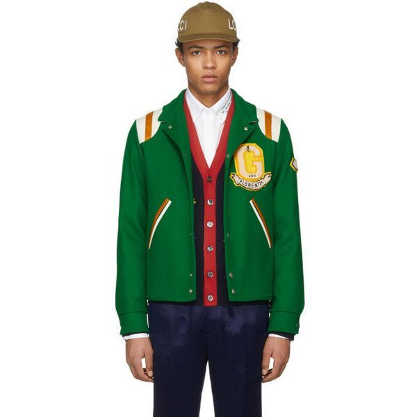 Gucci Green Guccy Tiger Felt Bomber Jacket ($3,560) ❤ liked on Polyvore featuring men's fashion, men's clothing, men's outerwear, men's jackets, green, mens green quilted jacket, mens quilted jacket, mens leather sleeve jacket, mens quilted bomber jacket and gucci mens jacket