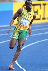 Usain Bolt -  Bolt was born in 1986 and is a Jamaican runner and three-time Olympic gold-medal winner. He is the world's fastest man. He has ran 100 metres in 9.58 seconds and 200 metres in 19.19 seconds. He broke his own record in 2010.