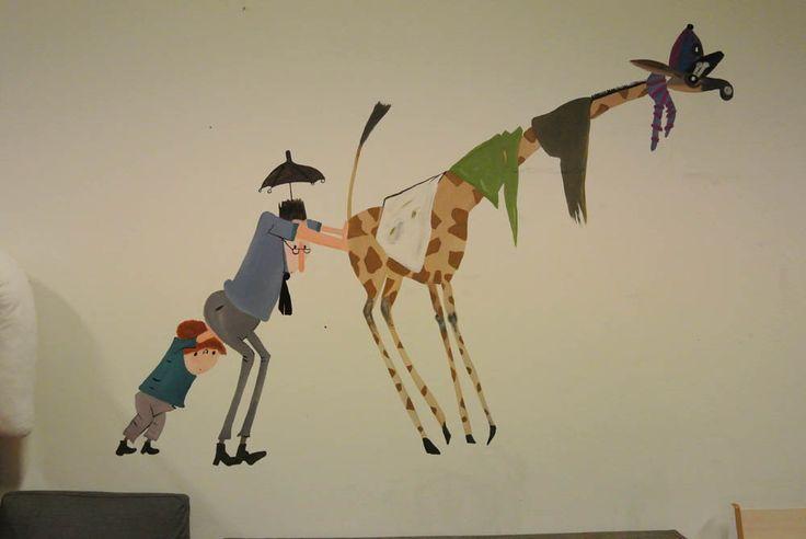 muurschildering Pluk redt de dieren door mij gemaakt op Kinderdagverblijf 100% thuis in Amersfoort.  http://janetedens.nl/muurschilderingen/