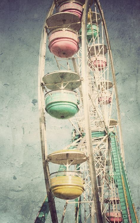 Fairs should bring back the lovely vintage pastel Ferris wheels because I'm totally loving this one<<< and it looks safer