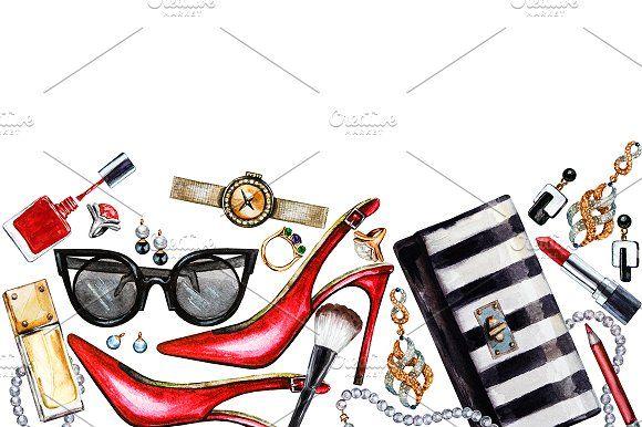 Three borders of women accessories by Svetlana Kazakova on @creativemarket