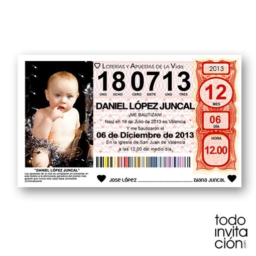 Invitación en papel de bautizo billete décimo de lotería. Muy original.  TODOINVITACION.COM