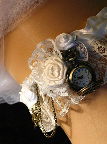 Steampunk Victorian Wedding Garter with Pocketwatch. Bride garter or Bridesmaids